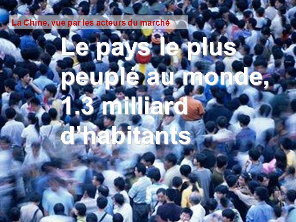 La Chine, vue par les acteurs du marché Le pays le plus peuplé au monde, 1.3 milliard dhabitants