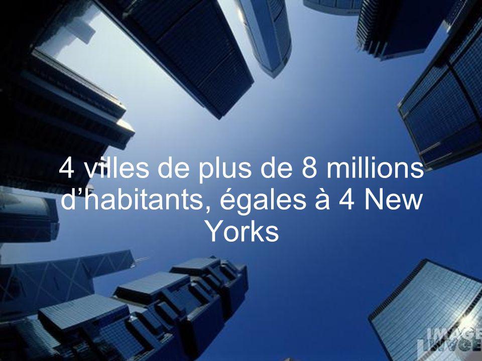 4 villes de plus de 8 millions dhabitants, égales à 4 New Yorks