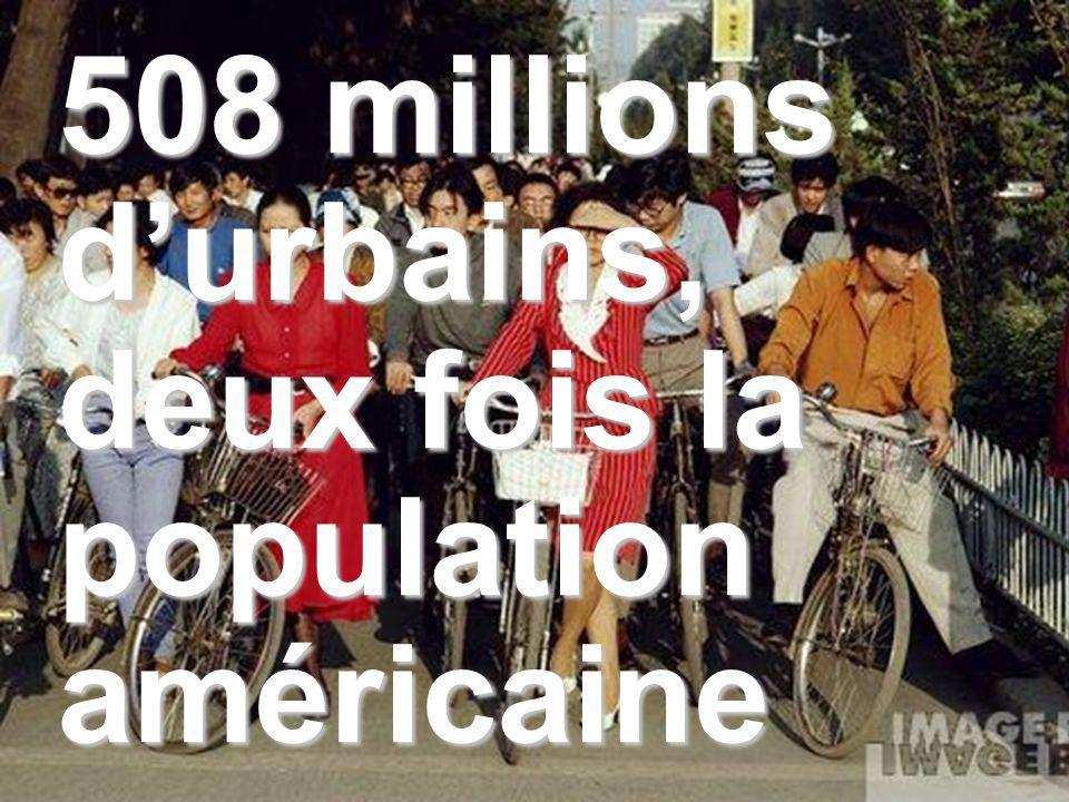 508 millions durbains, deux fois la population américaine