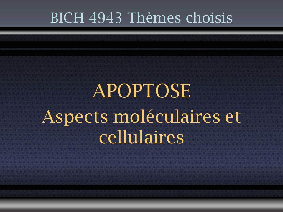 BICH 4943 Thèmes choisis APOPTOSE Aspects moléculaires et cellulaires
