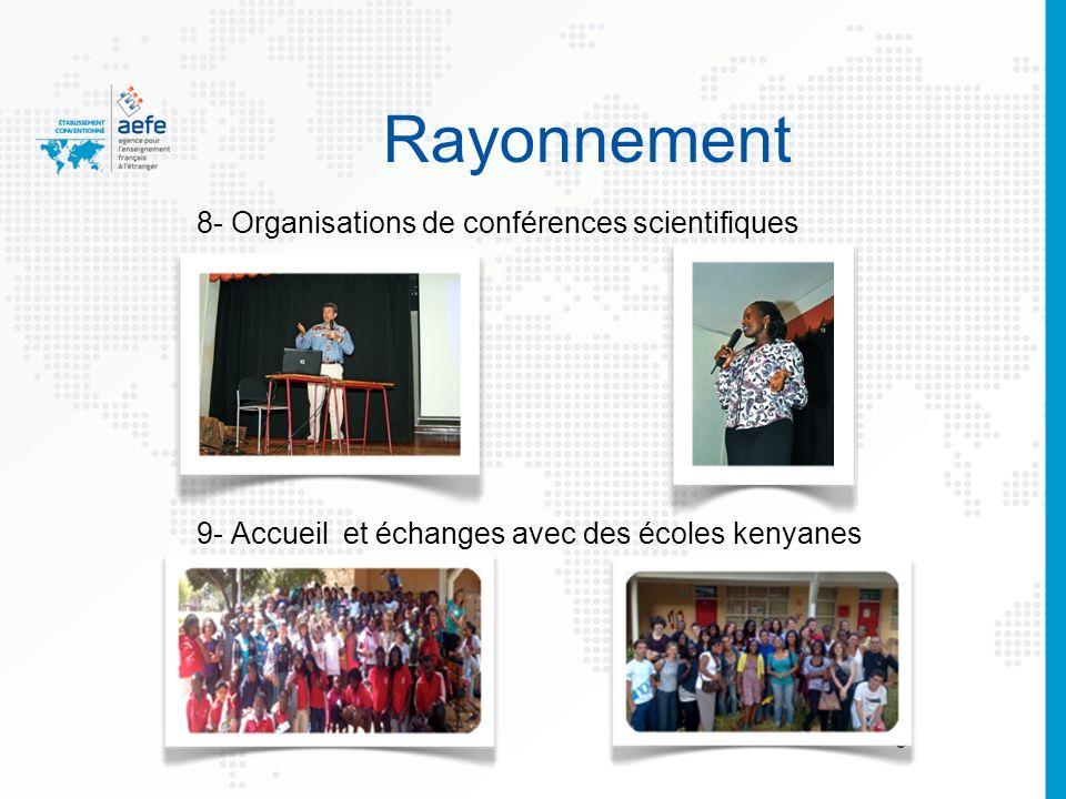 88 8- Organisations de conférences scientifiques 9- Accueil et échanges avec des écoles kenyanes Rayonnement