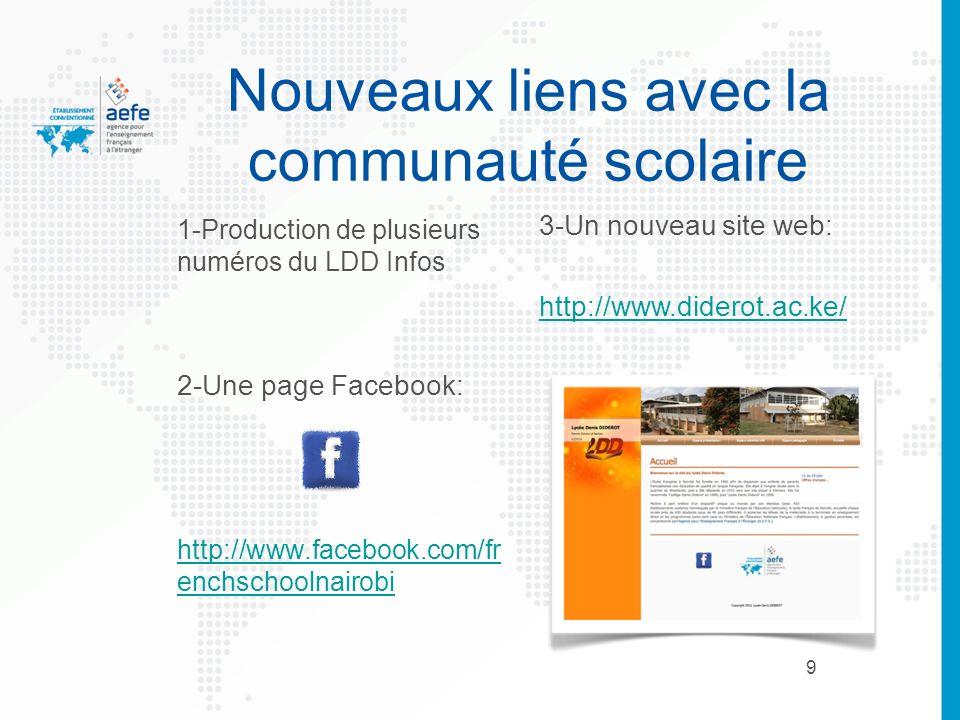 9 Nouveaux liens avec la communauté scolaire 1-Production de plusieurs numéros du LDD Infos 2-Une page Facebook: http://www.facebook.com/fr enchschool