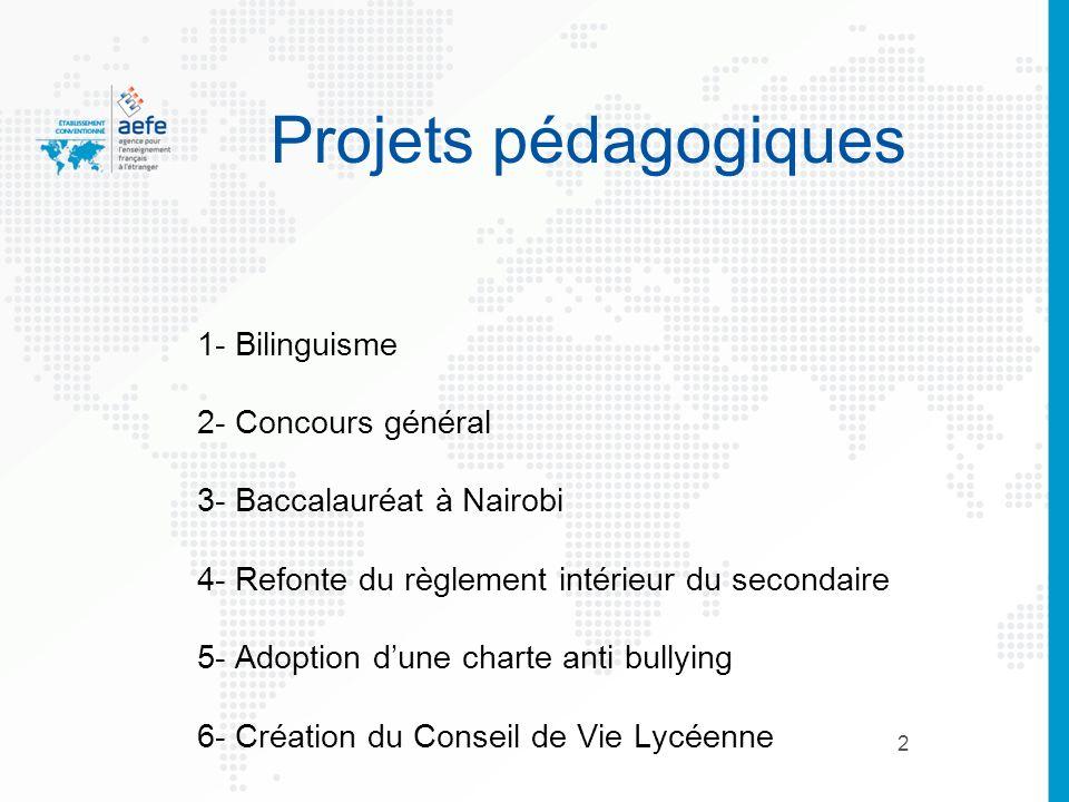 2 Projets pédagogiques 1- Bilinguisme 2- Concours général 3- Baccalauréat à Nairobi 4- Refonte du règlement intérieur du secondaire 5- Adoption dune c