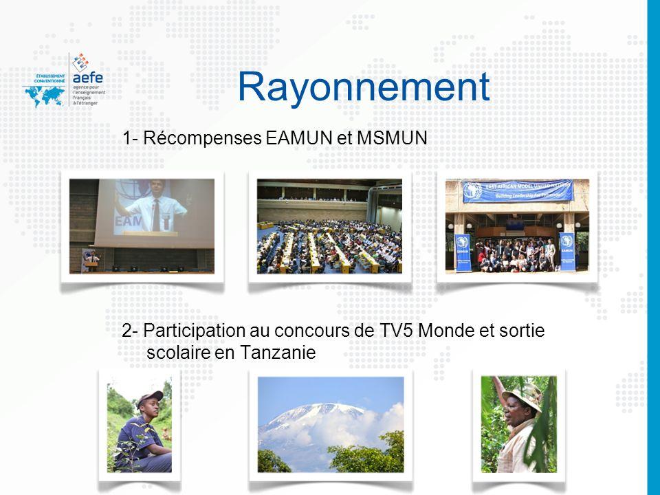 6 Rayonnement 1- Récompenses EAMUN et MSMUN 2- Participation au concours de TV5 Monde et sortie scolaire en Tanzanie