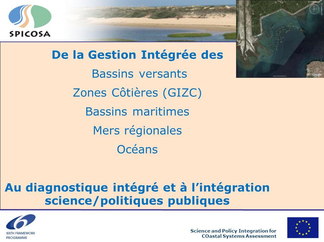 Science and Policy Integration for COastal Systems Assessment De la Gestion Intégrée des Bassins versants Zones Côtières (GIZC) Bassins maritimes Mers régionales Océans Au diagnostique intégré et à lintégration science/politiques publiques