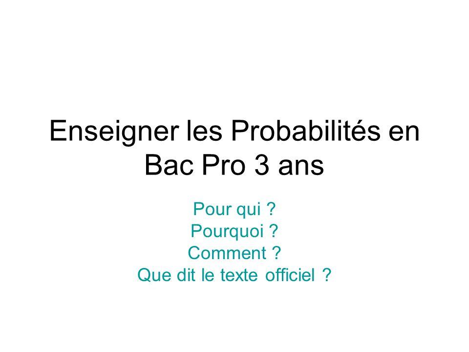 Statistique et probabilités en classe de seconde pro.
