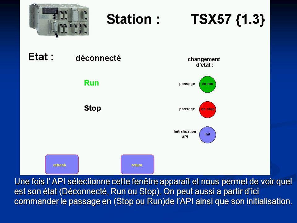 A partir de cette première application de InTouch nous pouvons accéder à l état de chaque automate dun simple clic sur celui-ci.