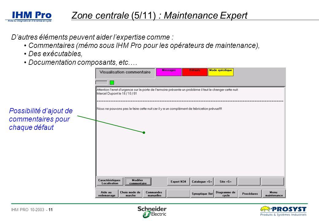 IHM Pro Aide au diagnostic et à la remise en cycle IHM PRO 10-2003 - 11 Zone centrale (5/11) : Maintenance Expert Dautres éléments peuvent aider lexpertise comme : Commentaires (mémo sous IHM Pro pour les opérateurs de maintenance), Des exécutables, Documentation composants, etc.… Possibilité dajout de commentaires pour chaque défaut