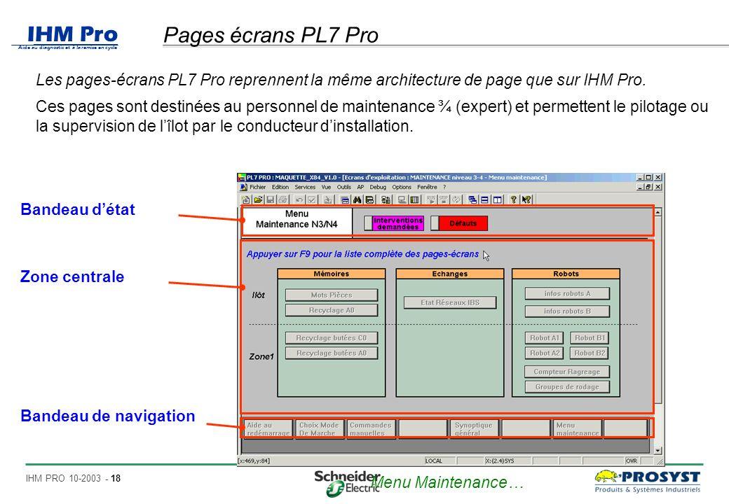 IHM Pro Aide au diagnostic et à la remise en cycle IHM PRO 10-2003 - 18 Pages écrans PL7 Pro Les pages-écrans PL7 Pro reprennent la même architecture de page que sur IHM Pro.