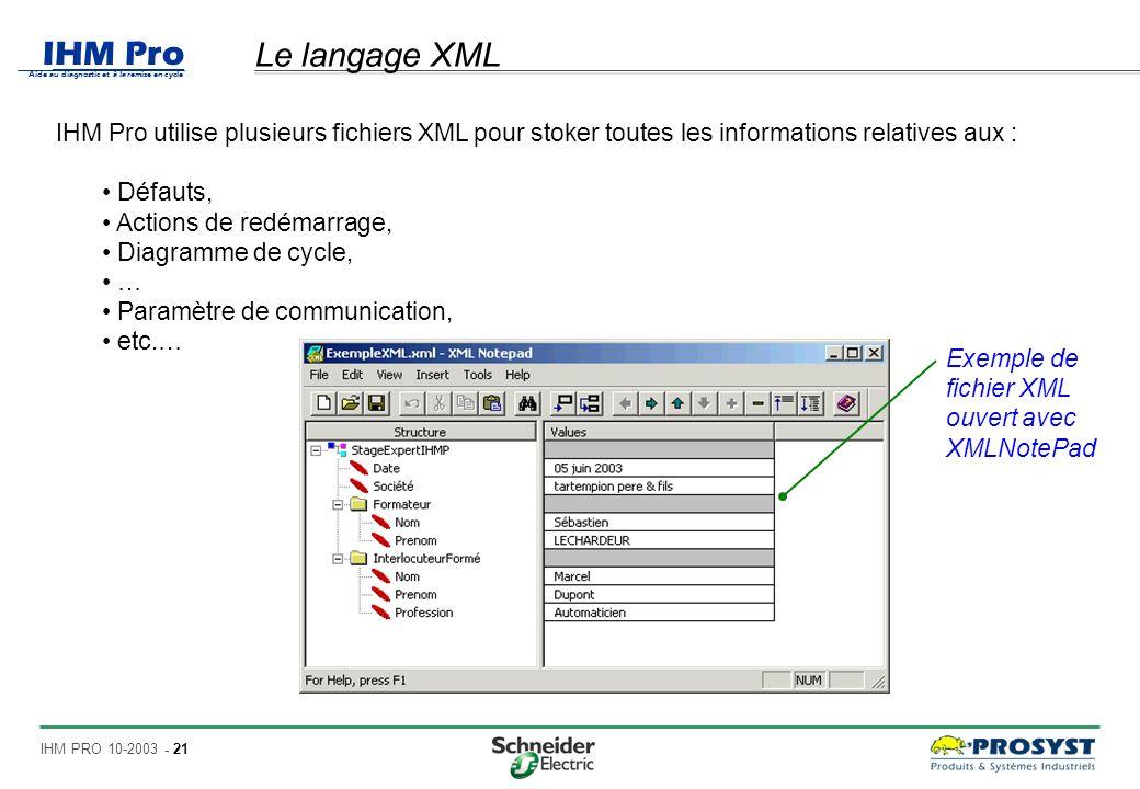 IHM Pro Aide au diagnostic et à la remise en cycle IHM PRO 10-2003 - 21 Le langage XML IHM Pro utilise plusieurs fichiers XML pour stoker toutes les informations relatives aux : Défauts, Actions de redémarrage, Diagramme de cycle, … Paramètre de communication, etc.… Exemple de fichier XML ouvert avec XMLNotePad