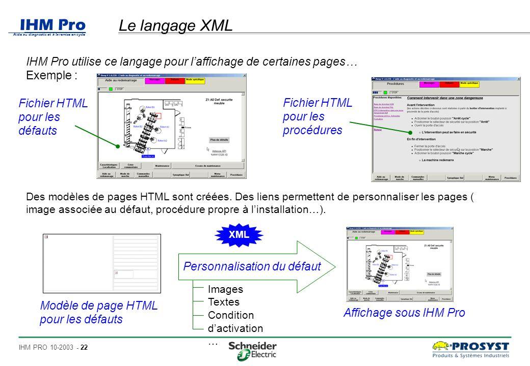 IHM Pro Aide au diagnostic et à la remise en cycle IHM PRO 10-2003 - 22 Le langage XML IHM Pro utilise ce langage pour laffichage de certaines pages… Exemple : Fichier HTML pour les défauts Fichier HTML pour les procédures Des modèles de pages HTML sont créées.