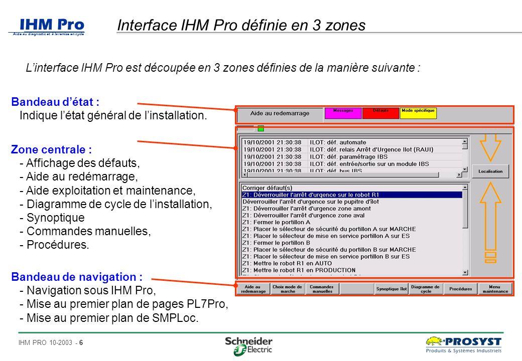 IHM Pro Aide au diagnostic et à la remise en cycle IHM PRO 10-2003 - 17 Zone centrale (11/11) : procédures Liste de procédures Affiche une liste de procédures… Le fichier contenant la procédure est au format HTML, PDF ou TXT.