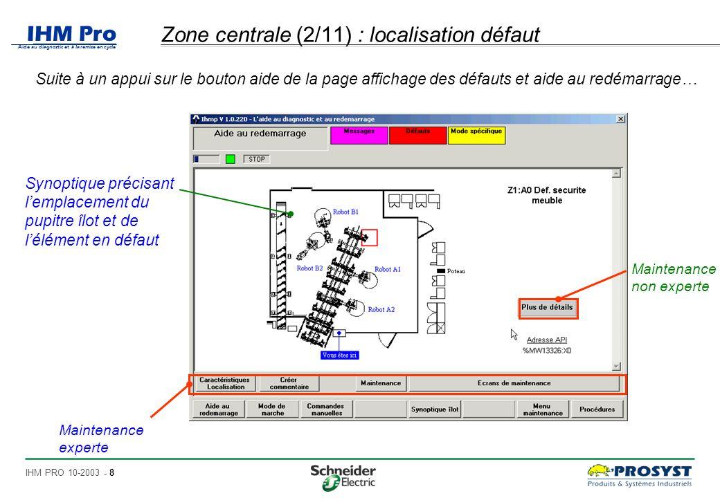IHM Pro Aide au diagnostic et à la remise en cycle IHM PRO 10-2003 - 9 Zone centrale (3/11) : Maintenance non expert Suite à un appui sur le bouton plus de détails… Page destinée à la maintenance non experte