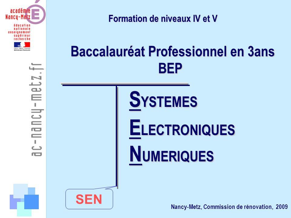Champ / Spécialités Orientation Organisation Éléments directeurs. Grille horaire Formation de niveaux IV et V BEP BEP Nancy-Metz, Commission de rénova