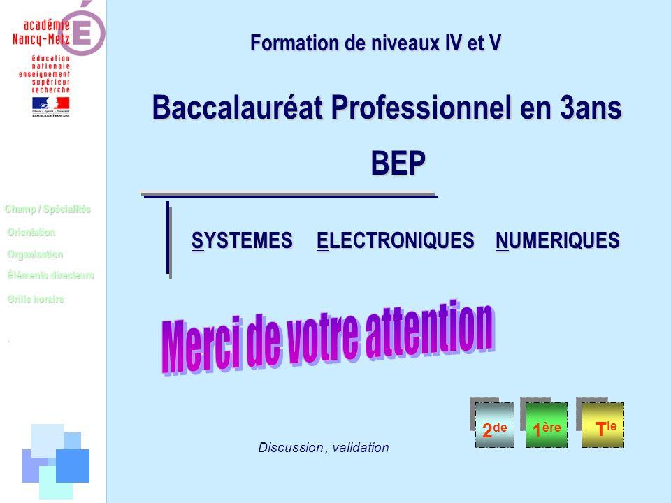 Champ / Spécialités Orientation Organisation Éléments directeurs. Grille horaire 2 de 1 ère T le Discussion, validation Formation de niveaux IV et V B