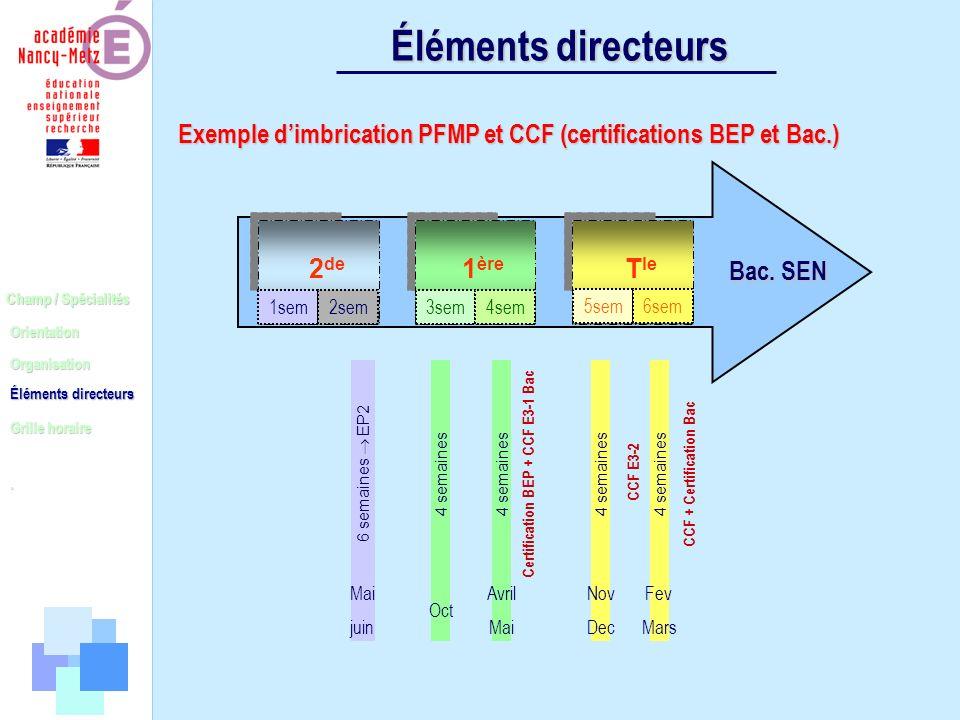 Champ / Spécialités Orientation Organisation Éléments directeurs. Grille horaire Éléments directeurs Exemple dimbrication PFMP et CCF (certifications