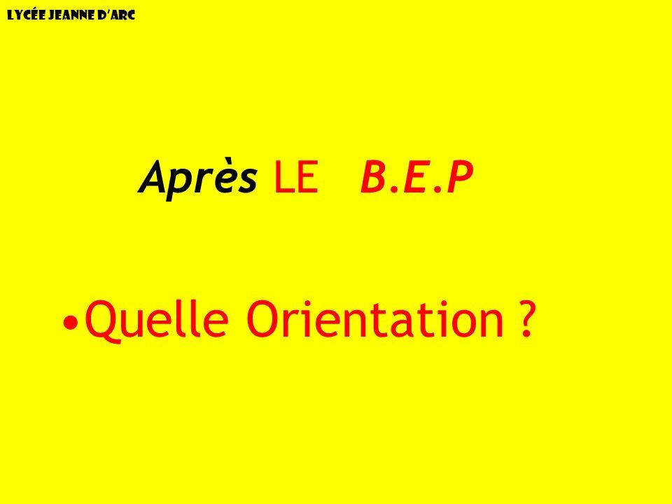 Lycée Jeanne dArc –AAprès LE B.E.P Quelle Orientation ?