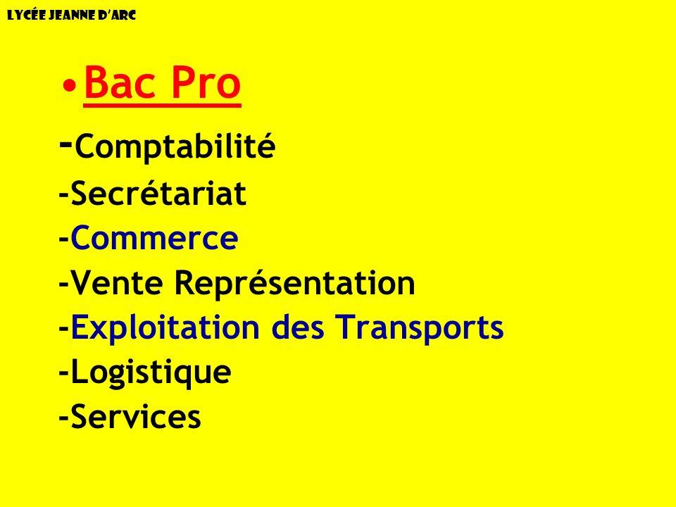Lycée Jeanne dArc Bac Pro - Comptabilité -Secrétariat -Commerce -Vente Représentation -Exploitation des Transports -Logistique -Services
