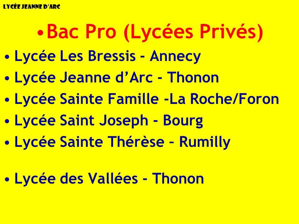 Lycée Jeanne dArc Bac Pro (Lycées Privés) Lycée Les Bressis - Annecy Lycée Jeanne dArc - Thonon Lycée Sainte Famille -La Roche/Foron Lycée Saint Josep