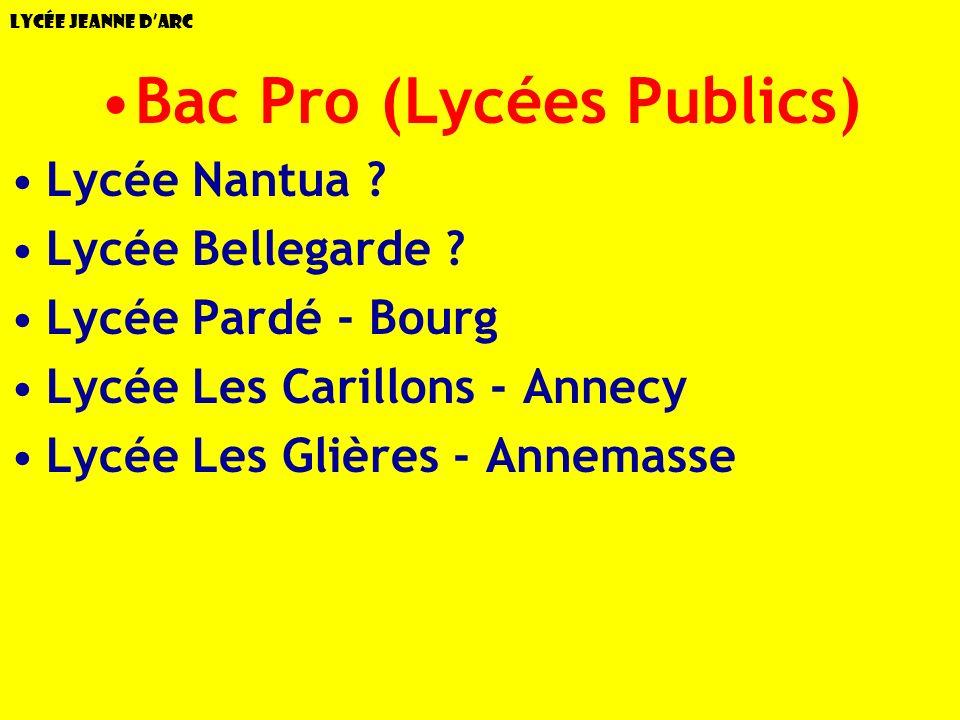 Lycée Jeanne dArc Bac Pro (Lycées Publics) Lycée Nantua ? Lycée Bellegarde ? Lycée Pardé - Bourg Lycée Les Carillons - Annecy Lycée Les Glières - Anne