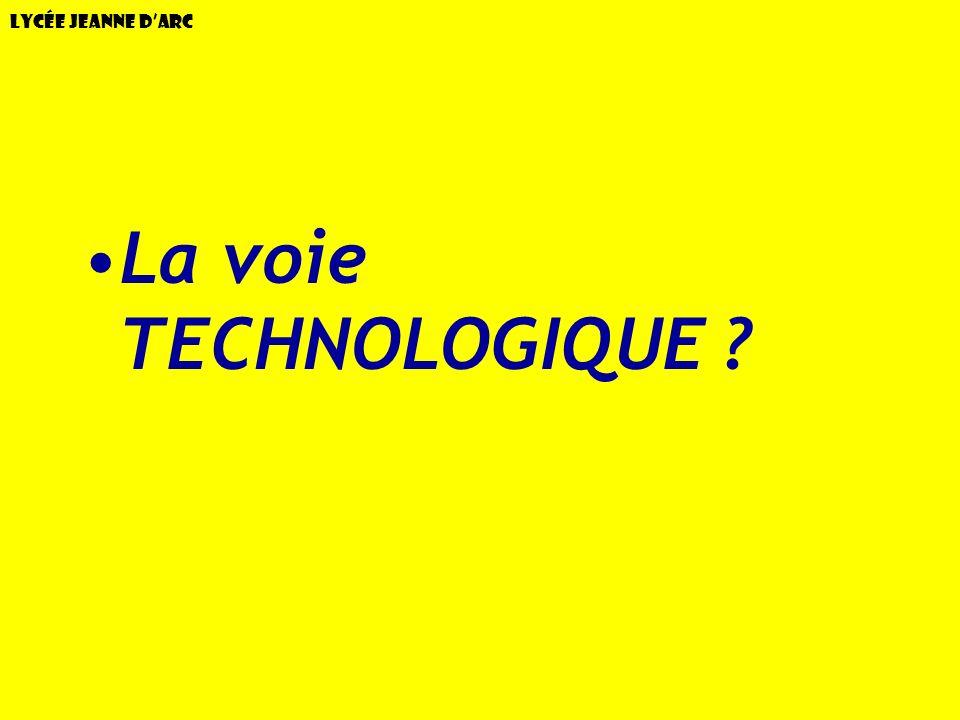 Lycée Jeanne dArc La voie TECHNOLOGIQUE ?