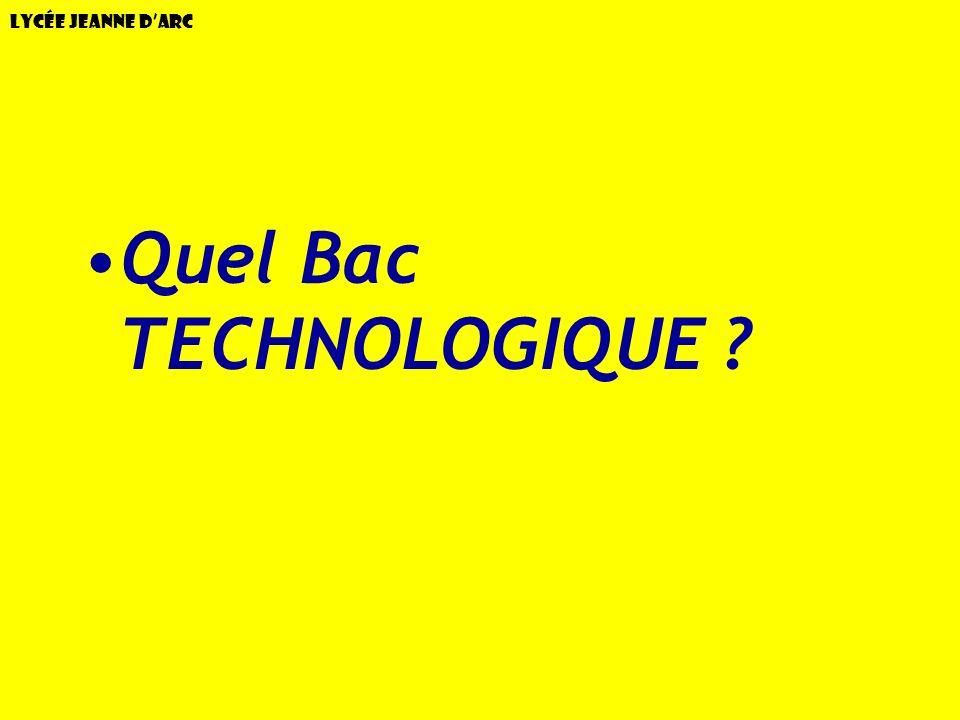 Lycée Jeanne dArc Quel Bac TECHNOLOGIQUE ?