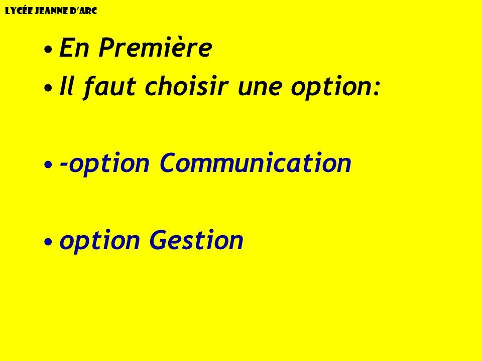 Lycée Jeanne dArc En Première Il faut choisir une option: -option Communication option Gestion