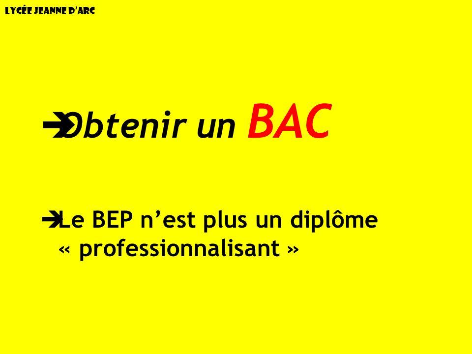 Lycée Jeanne dArc OBJECTIF: Obtenir un BAC Le BEP nest plus un diplôme « professionnalisant »
