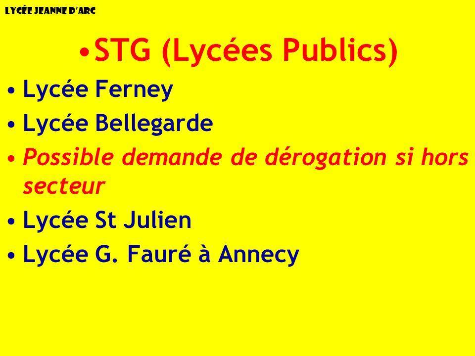 Lycée Jeanne dArc STG (Lycées Publics) Lycée Ferney Lycée Bellegarde Possible demande de dérogation si hors secteur Lycée St Julien Lycée G. Fauré à A