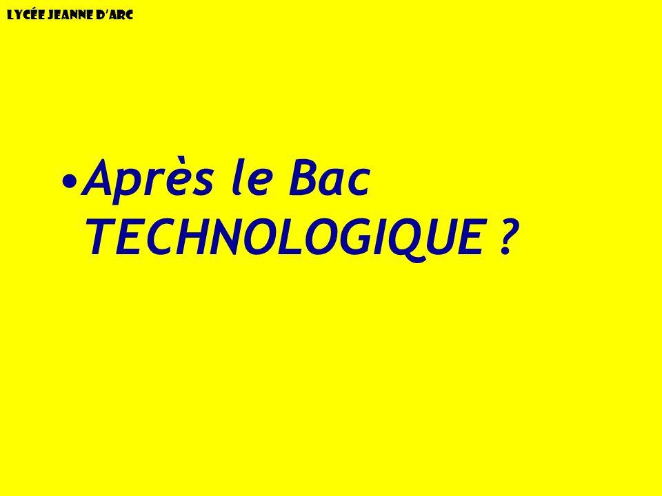 Lycée Jeanne dArc Après le Bac TECHNOLOGIQUE ?