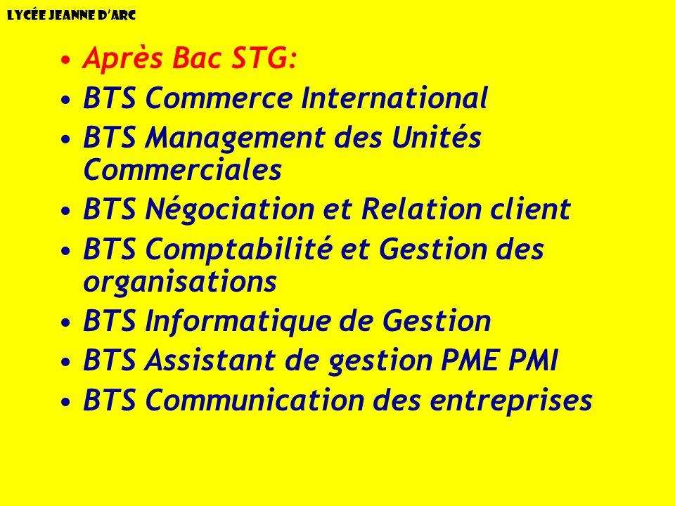 Lycée Jeanne dArc Après Bac STG: BTS Commerce International BTS Management des Unités Commerciales BTS Négociation et Relation client BTS Comptabilité