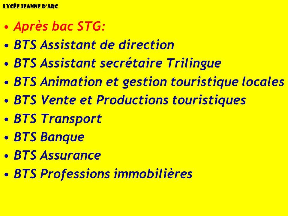 Lycée Jeanne dArc Après bac STG: BTS Assistant de direction BTS Assistant secrétaire Trilingue BTS Animation et gestion touristique locales BTS Vente