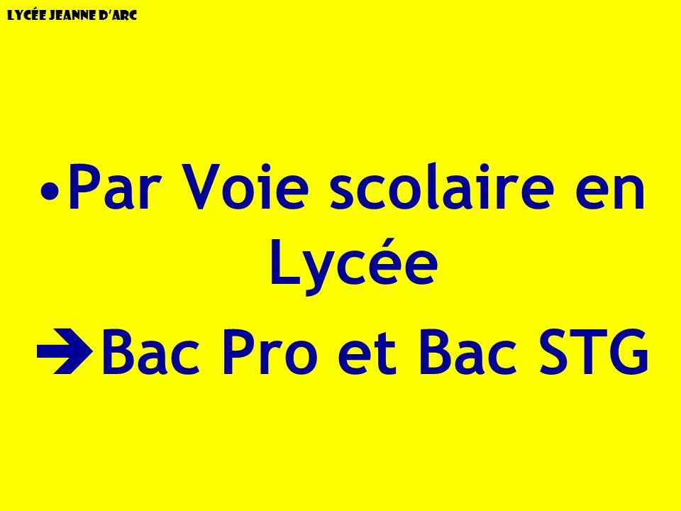 Lycée Jeanne dArc Par Voie scolaire en Lycée Bac Pro et Bac STG