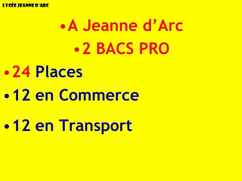 Lycée Jeanne dArc A Jeanne dArc 2 BACS PRO 24 Places 12 en Commerce 12 en Transport