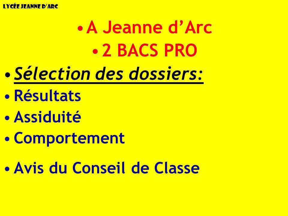 Lycée Jeanne dArc A Jeanne dArc 2 BACS PRO Sélection des dossiers: Résultats Assiduité Comportement Avis du Conseil de Classe