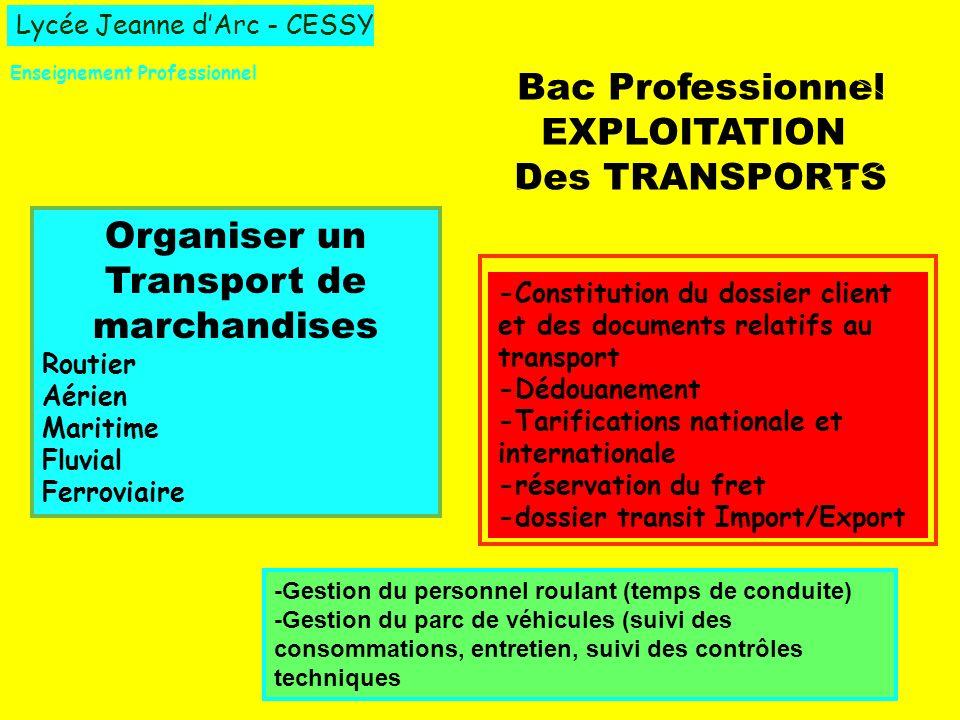 Lycée Jeanne dArc - CESSY Enseignement Professionnel Bac Professionnel EXPLOITATION Des TRANSPORTS Organiser un Transport de marchandises Routier Aéri