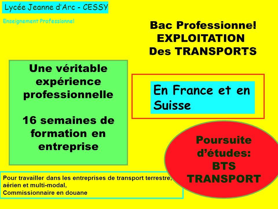 Lycée Jeanne dArc - CESSY Enseignement Professionnel Bac Professionnel EXPLOITATION Des TRANSPORTS Une véritable expérience professionnelle 16 semaine