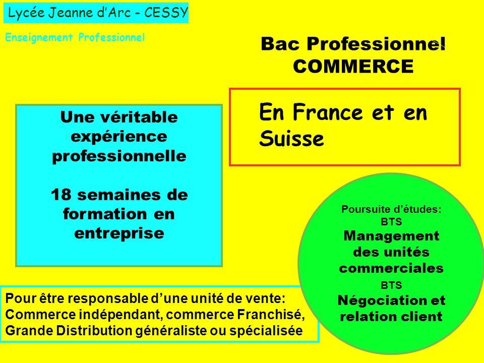 Lycée Jeanne dArc - CESSY Enseignement Professionnel Bac Professionnel COMMERCE Une véritable expérience professionnelle 18 semaines de formation en e