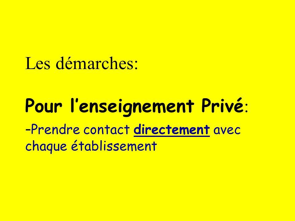 Les démarches: Pour lenseignement Privé : - Prendre contact directement avec chaque établissement
