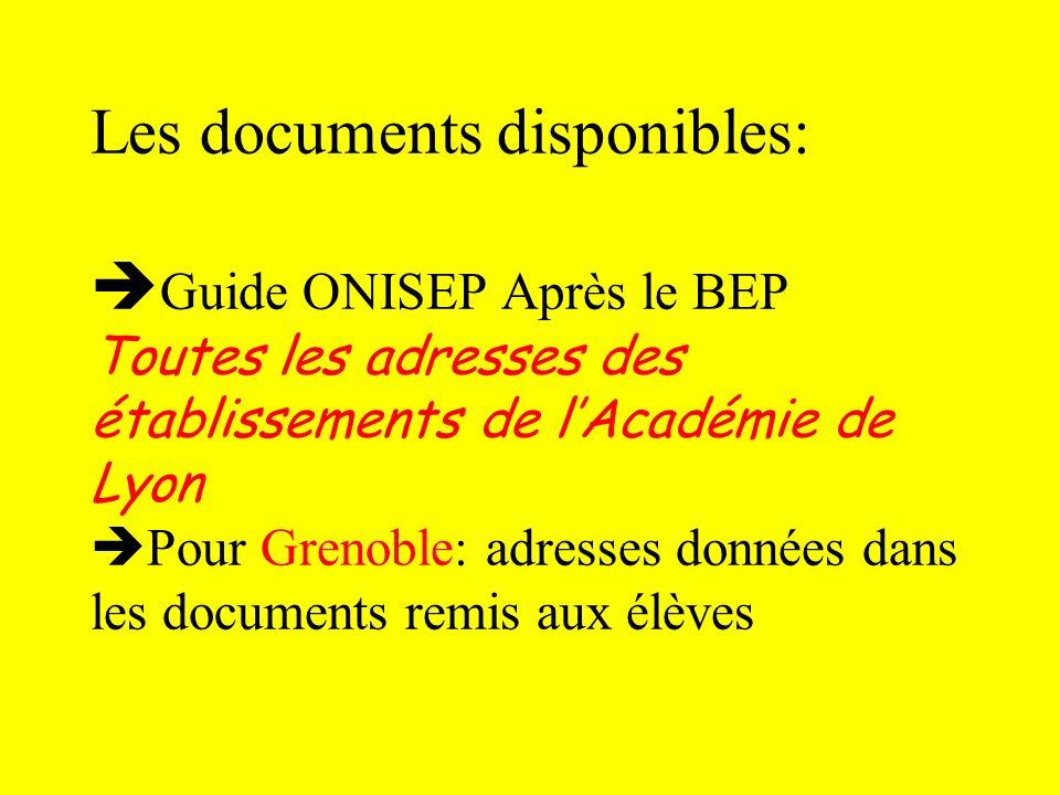 Les documents disponibles: Guide ONISEP Après le BEP Toutes les adresses des établissements de lAcadémie de Lyon Pour Grenoble: adresses données dans