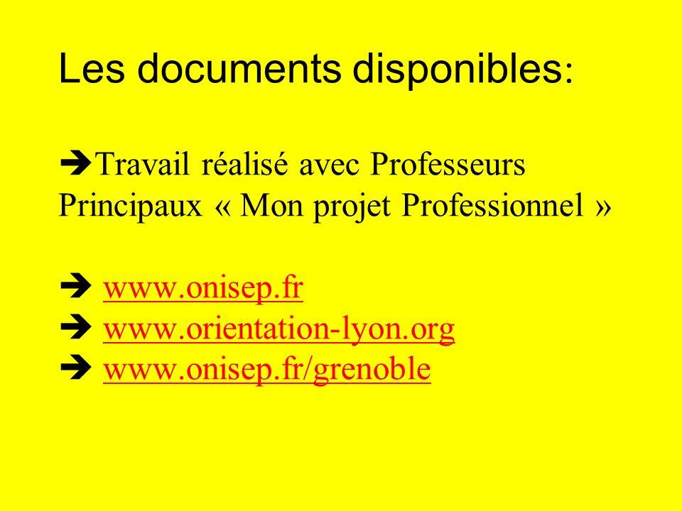 Les documents disponibles : Travail réalisé avec Professeurs Principaux « Mon projet Professionnel » www.onisep.fr www.orientation-lyon.org www.onisep
