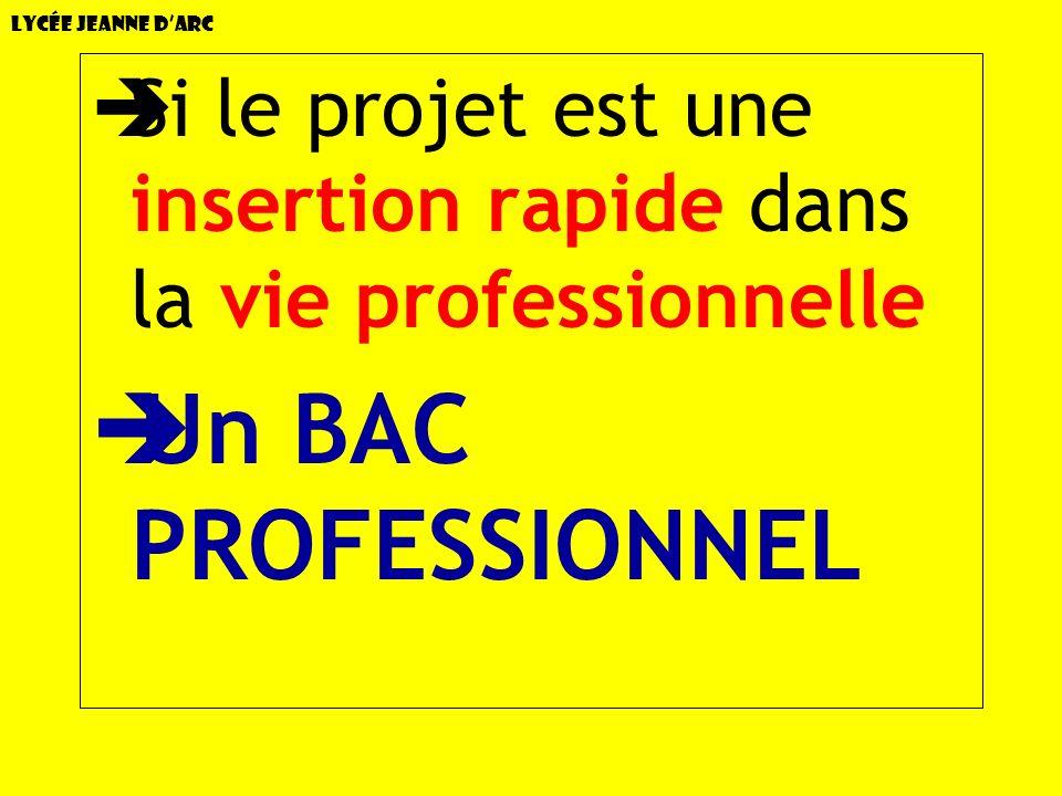 Lycée Jeanne dArc Si le projet est une insertion rapide dans la vie professionnelle Un BAC PROFESSIONNEL