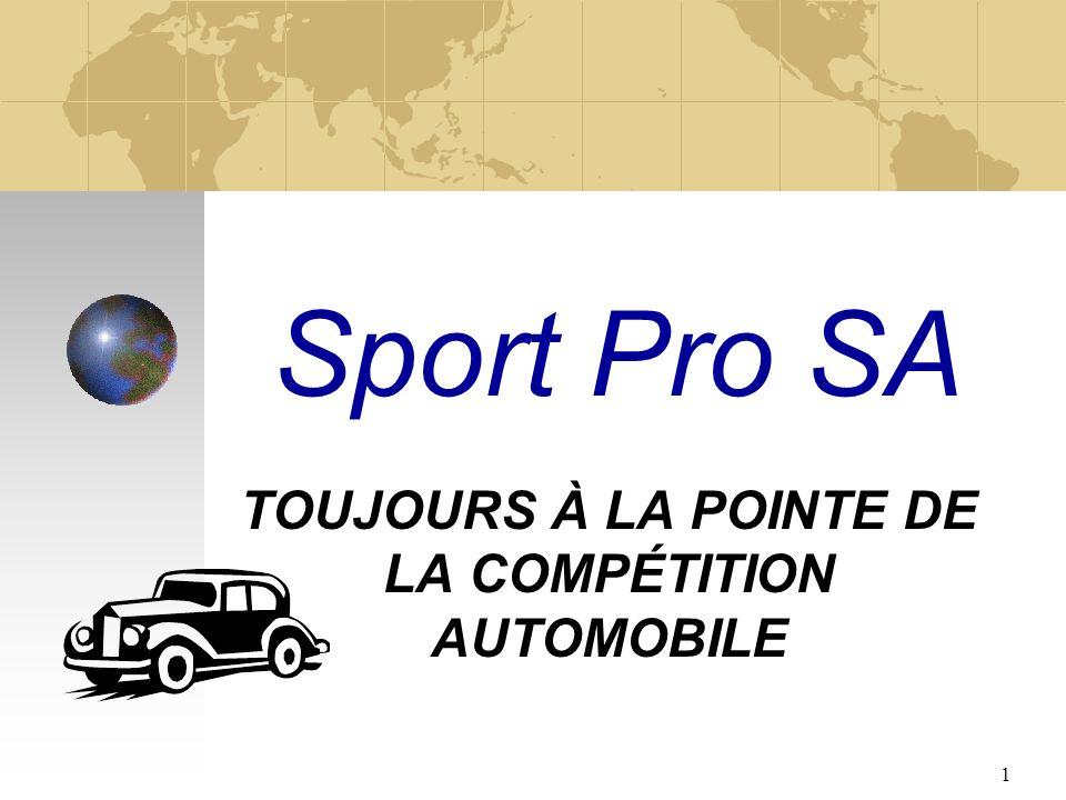1 Sport Pro SA TOUJOURS À LA POINTE DE LA COMPÉTITION AUTOMOBILE