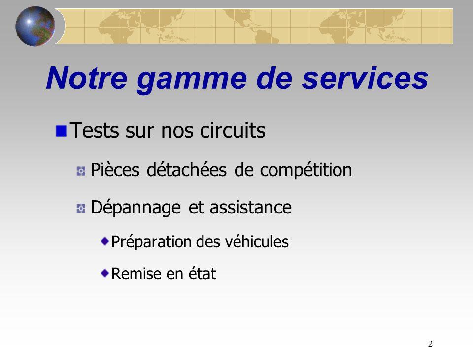 2 Notre gamme de services Tests sur nos circuits Pièces détachées de compétition Dépannage et assistance Préparation des véhicules Remise en état