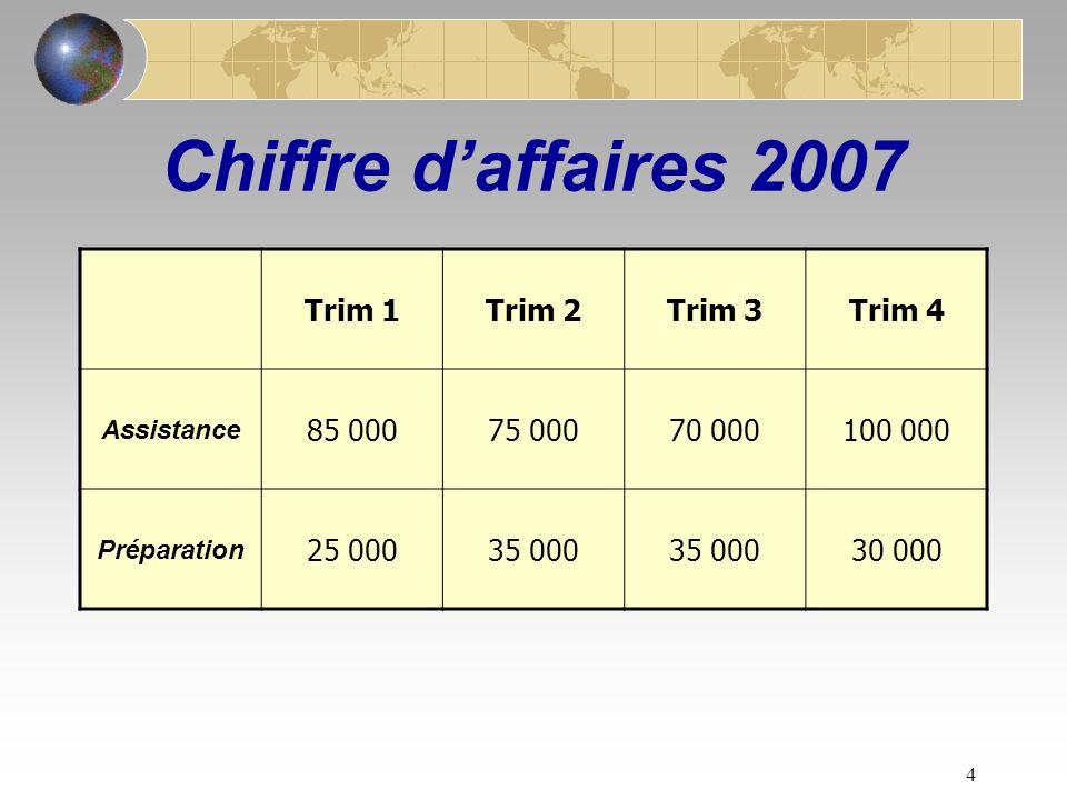 4 Chiffre daffaires 2007 Trim 1Trim 2Trim 3Trim 4 Assistance 85 00075 00070 000100 000 Préparation 25 00035 000 30 000