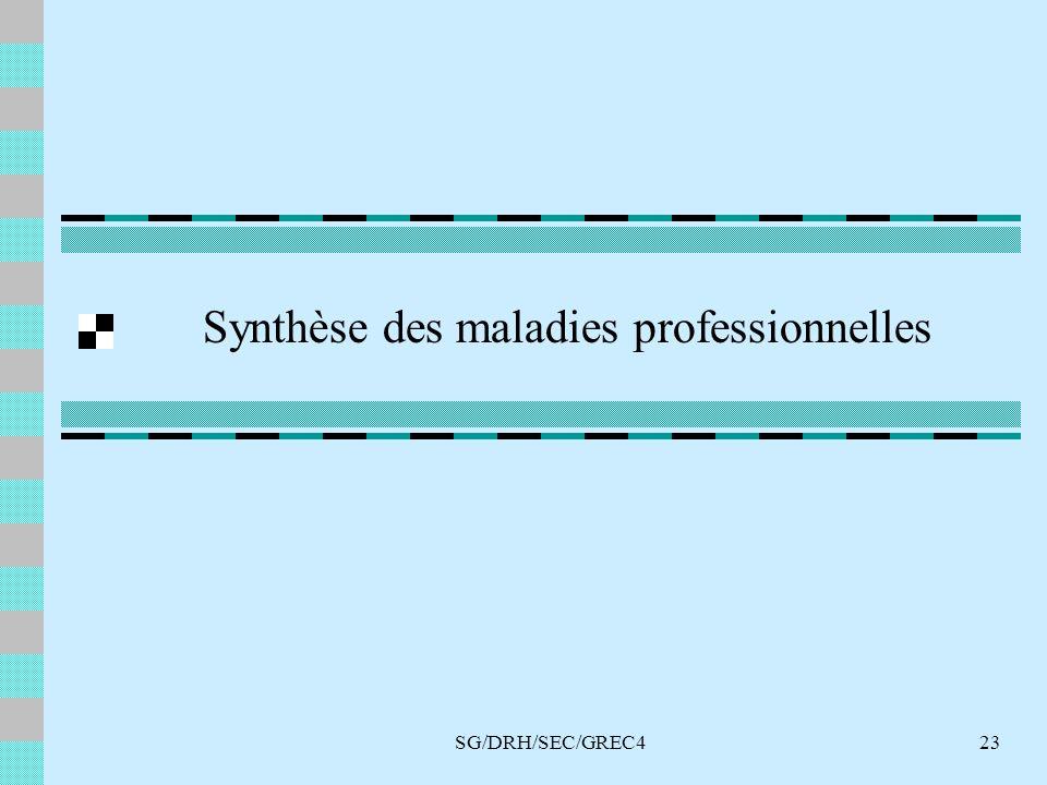 SG/DRH/SEC/GREC423 Synthèse des maladies professionnelles