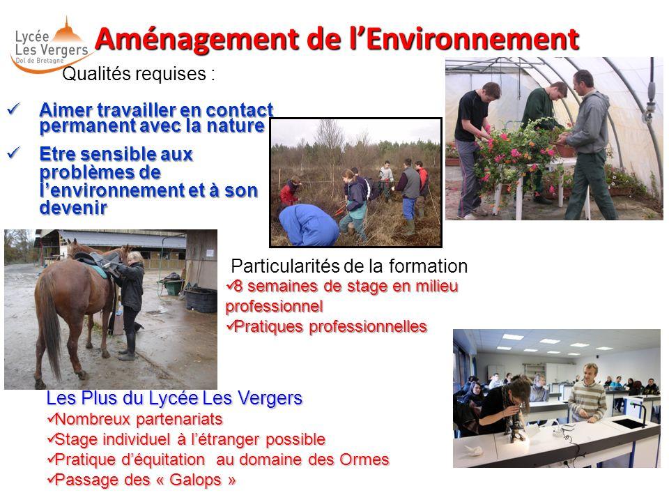 Aménagement de lEnvironnement Aménagement de lEnvironnement Qualités requises : Aimer travailler en contact permanent avec la nature Aimer travailler