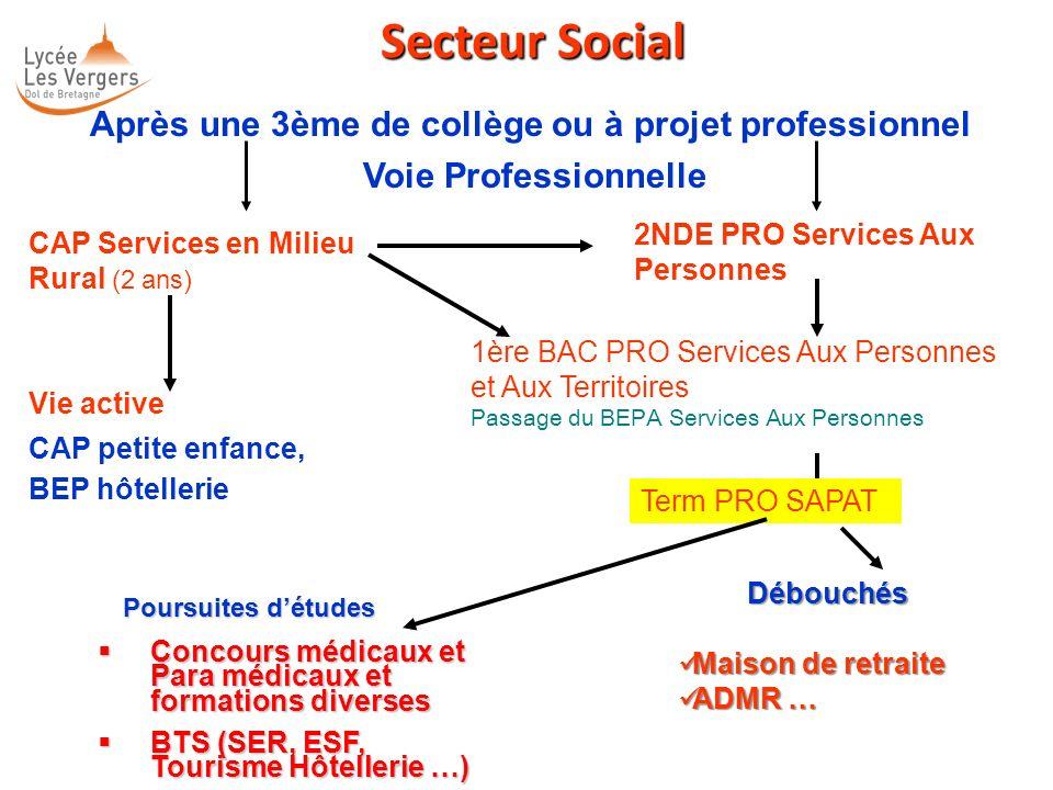 Secteur Social Secteur Social Après une 3ème de collège ou à projet professionnel Voie Professionnelle CAP Services en Milieu Rural (2 ans) 2NDE PRO S
