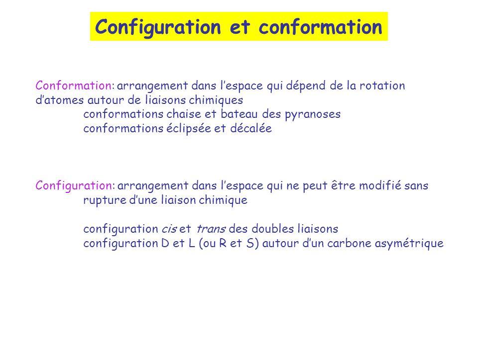 Configuration et conformation Conformation: arrangement dans lespace qui dépend de la rotation datomes autour de liaisons chimiques conformations chai