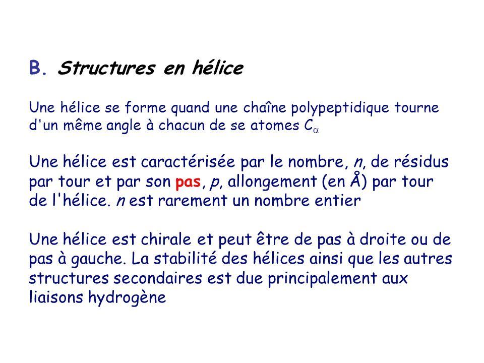 B. Structures en hélice Une hélice se forme quand une chaîne polypeptidique tourne d'un même angle à chacun de se atomes C Une hélice est caractérisée